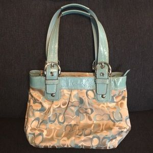 Light blue and tan authentic coach Purse